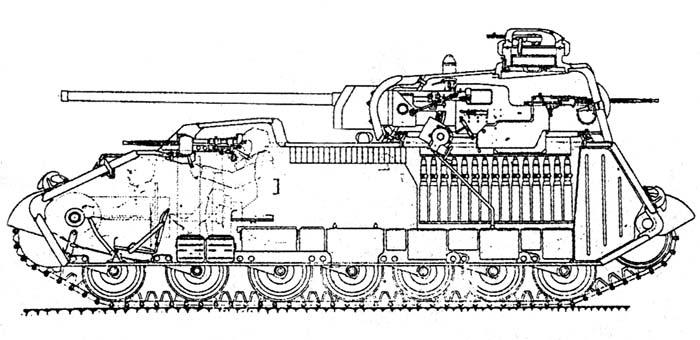 Компоновка среднего танка А-44